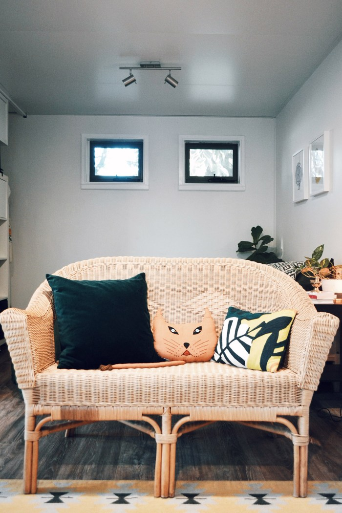 Rattan wicker lounge mid century