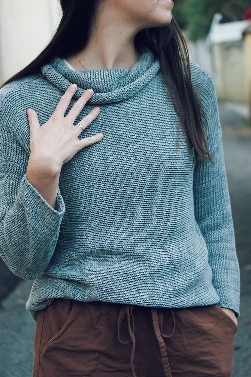 Theo the Label cotton cowl knit jumper ethical