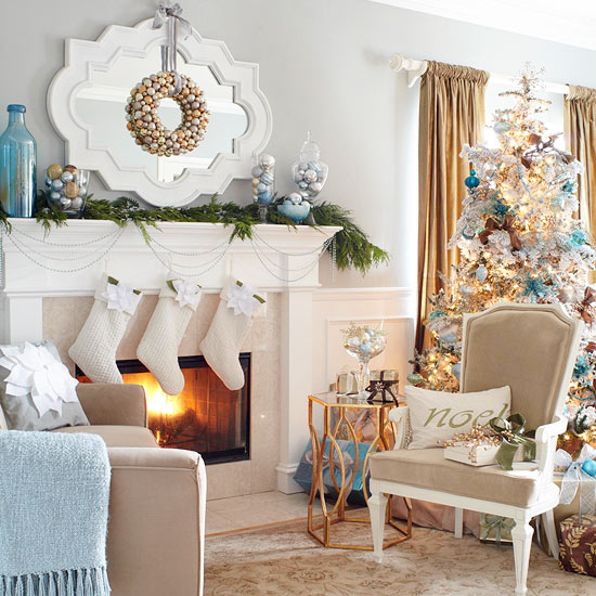 Home Interior Company Gold Christmas Decorations Ideas Blue And Silver 570x673