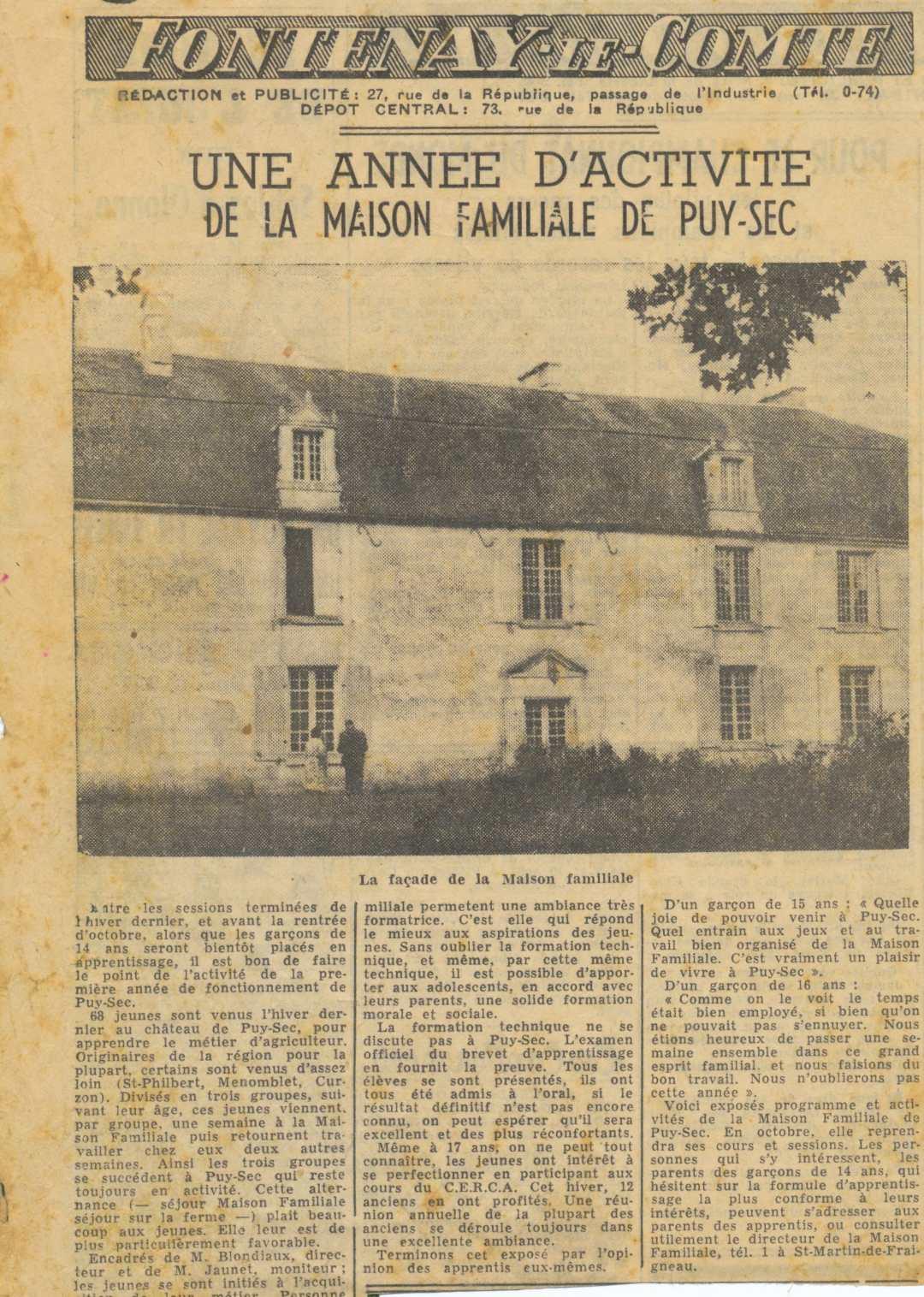 Archives anciens élèves mfr puysec 1952 article 0 rentrées