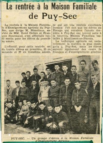Archives anciens élèves mfr puy-sec 1960 Article 2 rentrées