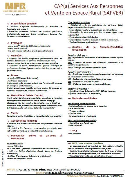 Formation SAPVER complément MFR Puy Sec