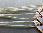 Glossy oval tags with a scalloped orange border strung with yellow bakery twine.