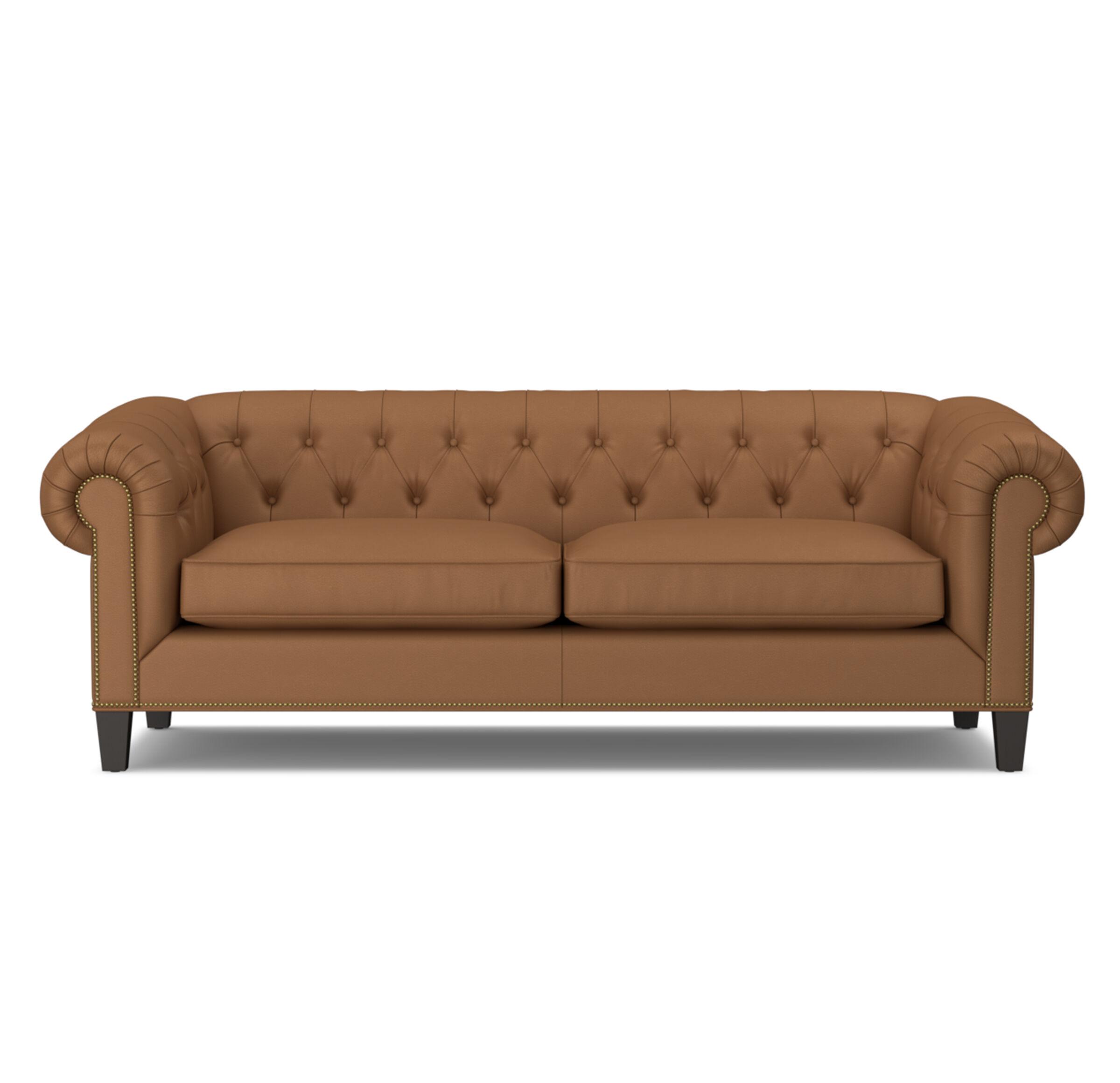 addison leather sofa with nailhead