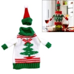 Christmas Tree Sweater Cloth Style Dinner Table Decoration Champagne Wine Bottle Bag, Body Size: 18cm x 13cm