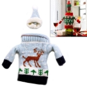 Christmas Deer Grey Sweater Cloth Style Dinner Table Decoration Champagne Wine Bottle Bag, Body Size: 18cm x 13cm