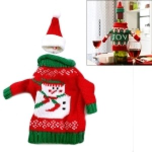 Christmas Snowman Sweater Cloth Style Dinner Table Decoration Champagne Wine Bottle Bag, Body Size: 18cm x 13cm
