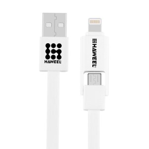 HAWEEL 2 in 1 Micro USB & 8 Pin to USB Data Sync Charge Cable ( Valkoinen )