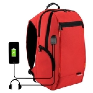 HAWEEL Outdoor Multi-function Comfortable Breathable Casual Backpack Laptop Bag with Handle, External USB Charging Port & Earphone Port(Red)