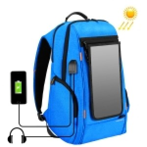 HAWEEL Outdoor Multi-function 7W Solar Panel Powered Comfortable Breathable Casual Backpack Laptop Bag with Handle, External USB Charging Port & Earphone Port(Blue)