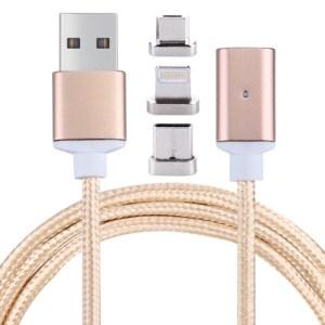 Mobiili: 3 in 1 -magneettinen verkkovirtalaturi 1m (Gold)