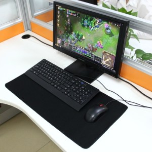 PC: Extended Large Solid Black Color Gaming and Office Keyboard Mouse Pad, Size: 60cm x 30cm