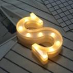 Alphabet English Letter S Shape Decorative Light, Dry Battery Powered Warm White Standing Hanging LED Holiday Light
