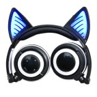 Glowing Cat Ear Headphone Gaming Headset with LED Light & Mic (Black/Blue)