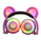 Bear Ear Headphone Gaming Headset with LED Light (Pink)