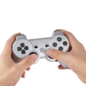 PS3: Wireless DoubleShock III Game Controller without Cable for Sony PS3, Built-in 600mA Rechargeable Lithium Battery(Silver)
