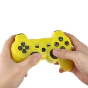 PS3: Wireless DoubleShock III Game Controller without Cable for Sony PS3, Built-in 600mA Rechargeable Lithium Battery(Yellow)