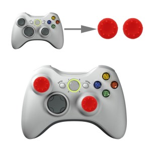PS4: 2 PCS Silicone Key Protector Thumb Grips Joystick Caps for PS4 & XBOX (Red)