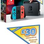 Switch: Nintendo Switch konsoli with Neon Red & Blue Joy-Con (Including £30 EShop Credit) (UK)