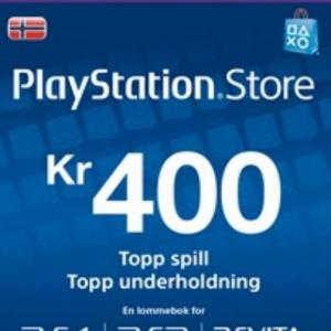 PS4: Playstation Network Card (PSN) 400 NOK (Norway) (latauskoodi)