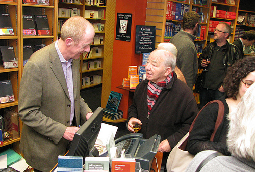 Oxford authors Tim Pears and Colin Dexter at the LANDED book launch