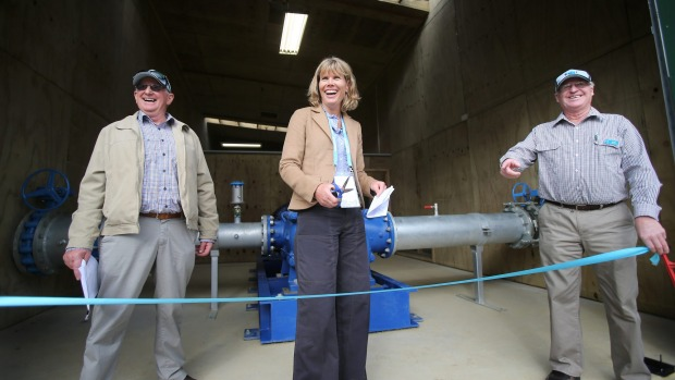 Nicky Hyslop opens the Waihao Downs irrigation project.