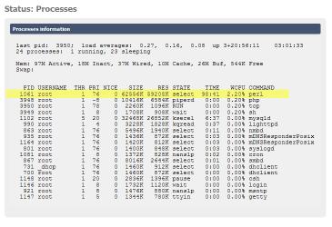 FreeNAS process menu showing Perl running