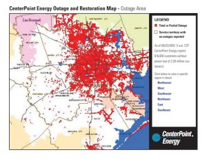 Centerpoint Outage Areas