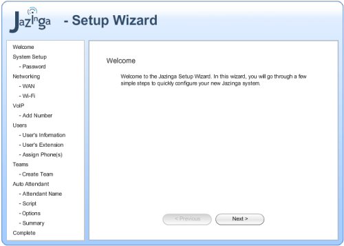 Jazinga setup wizard