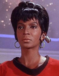 Nichelle Nichols as Lt. Uhura, the original wireless headset goddess
