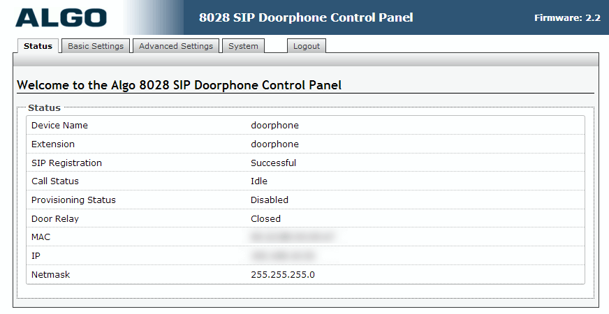 Algo 8028 SIP Door Phone - Web UI - Status