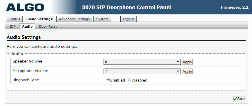 Algo 8028 SIP Door Phone - Web UI - Basics - Audio