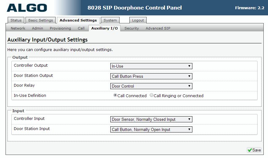Algo 8028 SIP Door Phone - Web UI - Advanced Auxiliary I/O