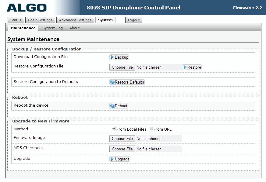 Algo 8028 SIP Door Phone - Web UI - System Maintenance