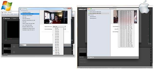 Wirecast Windows vs Mac Webcam Properties 600px
