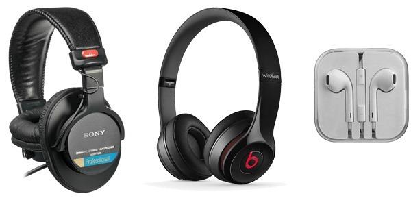 trio of headphones