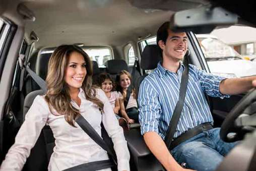 Family driving in automobile
