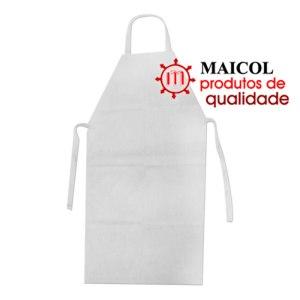 Avental para proteção corporal confeccionado em PVC da cor branca.