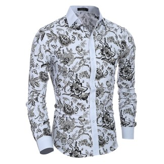 Men's Slim Fit Shirt Ethnic Flowers