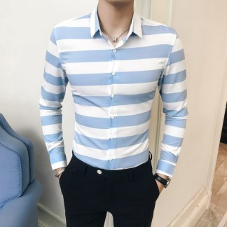 2018-Korean-Fashion-Men-s-Striped-Shirts-Long-Sleeve-Black-Blue-Stripe-Men-Shirt-Slim-Fit-1