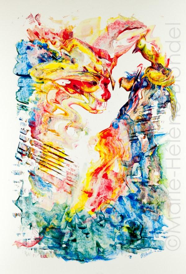 Le dragon et les oiseaux – 2012 – Acrylique sur carton – 70 X 50 – 350€