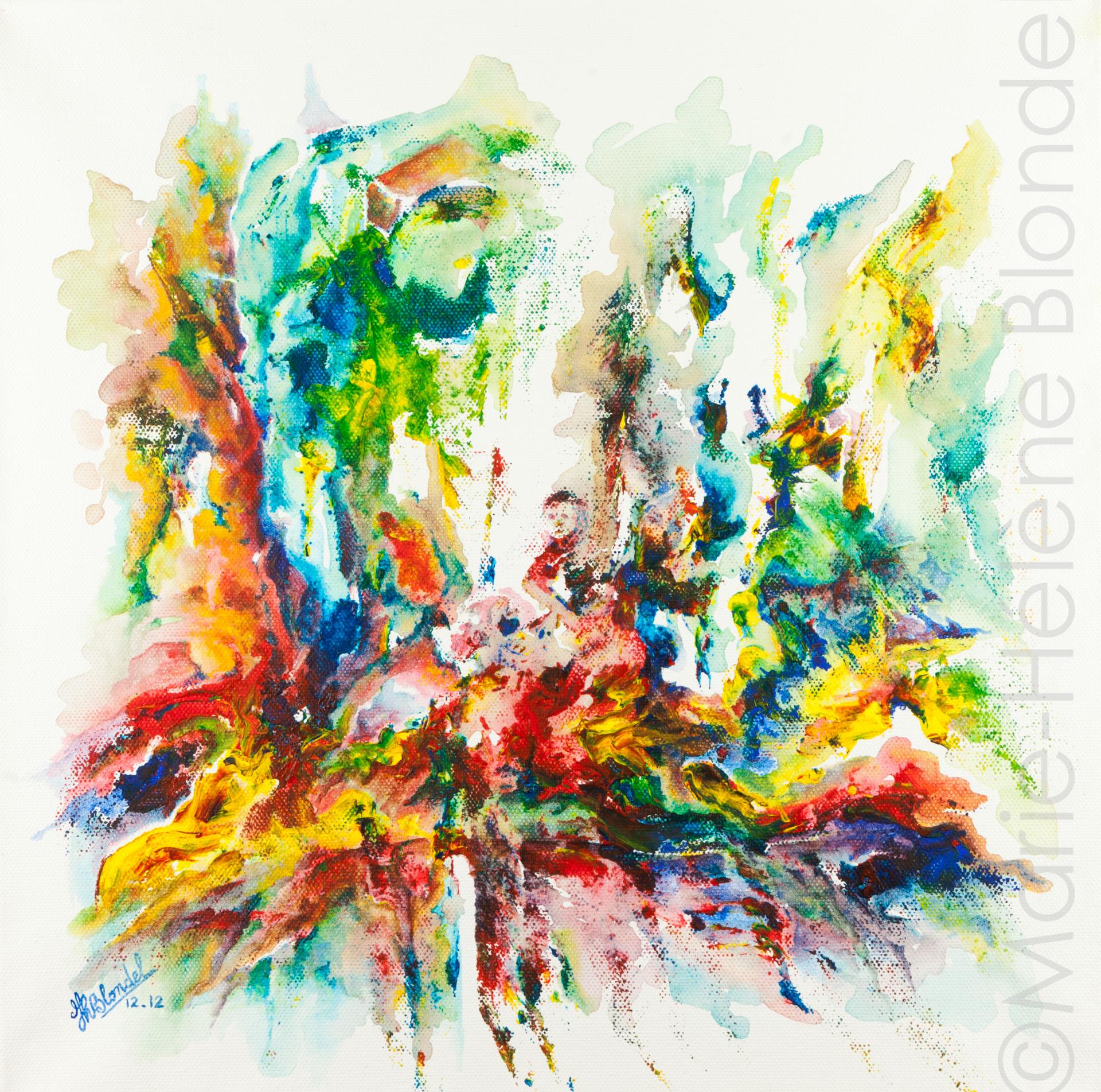 La chute – 2012 – Acrylique sur toile – 40 X 40