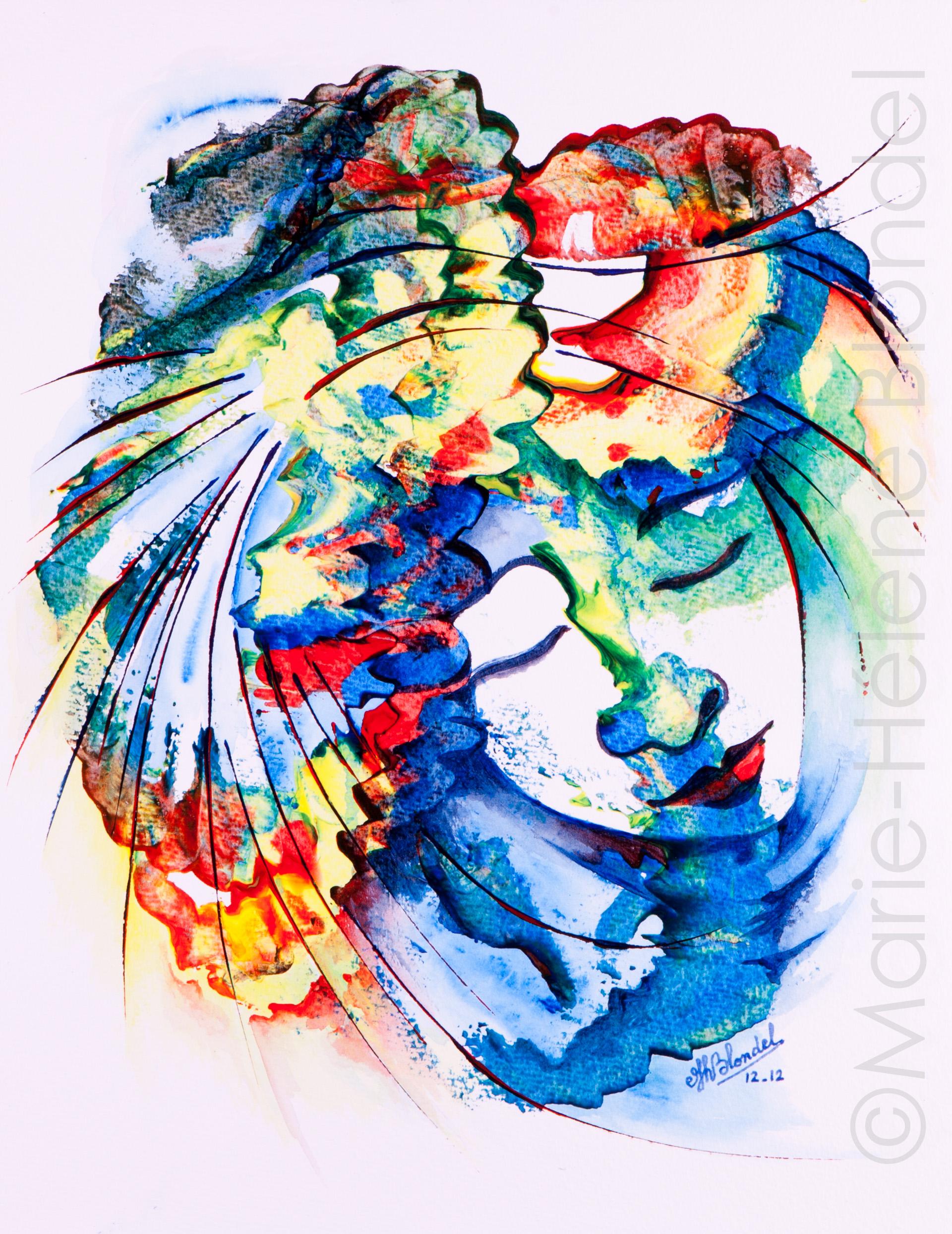 Dame bleue – 2012 – Acrylique sur papier – 41 X 32