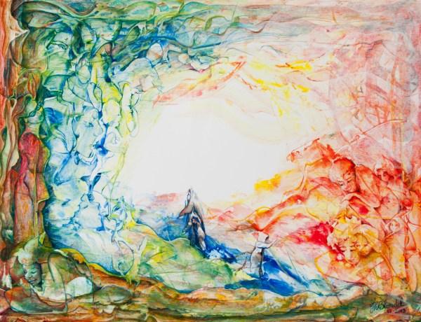 """""""Transparences""""   Pèlerinage – Acrylique sur carton plume – 50 X 65"""