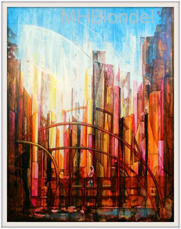 Dans les villes de grande solitude… – Acrylique sur carton fort – 50 X 65 cm – 300€
