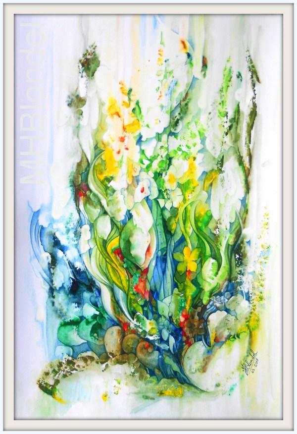 Prémices de printemps – Aquarelle sur carton fort – 60 X 40 cm – 230€