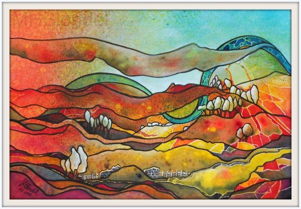 Improbable randonnée – Aquarelle sur carton fort – 30 X 40 cm – 130€