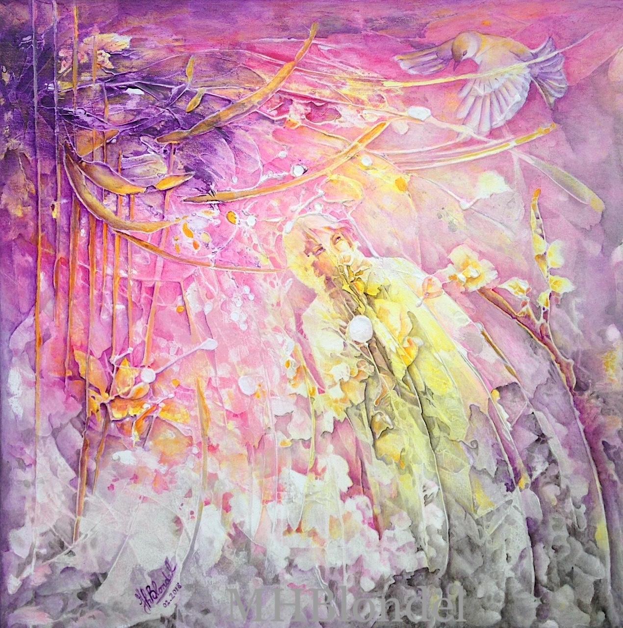 Le messager du bonheur – Acrylique sur toile – 50 X 50 cm – 450€