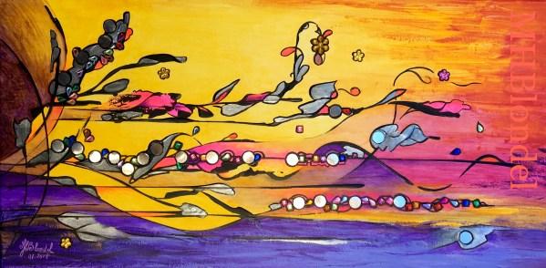 Dream Land 6 – Acrylique sur toile et collages – 30 X 60 cm – 150€