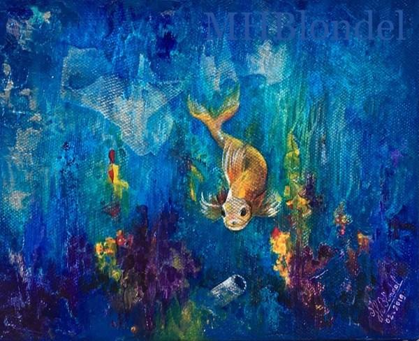 PoiSon d'Avril – Acrylique sur toile – 22 X 27cm – 70€